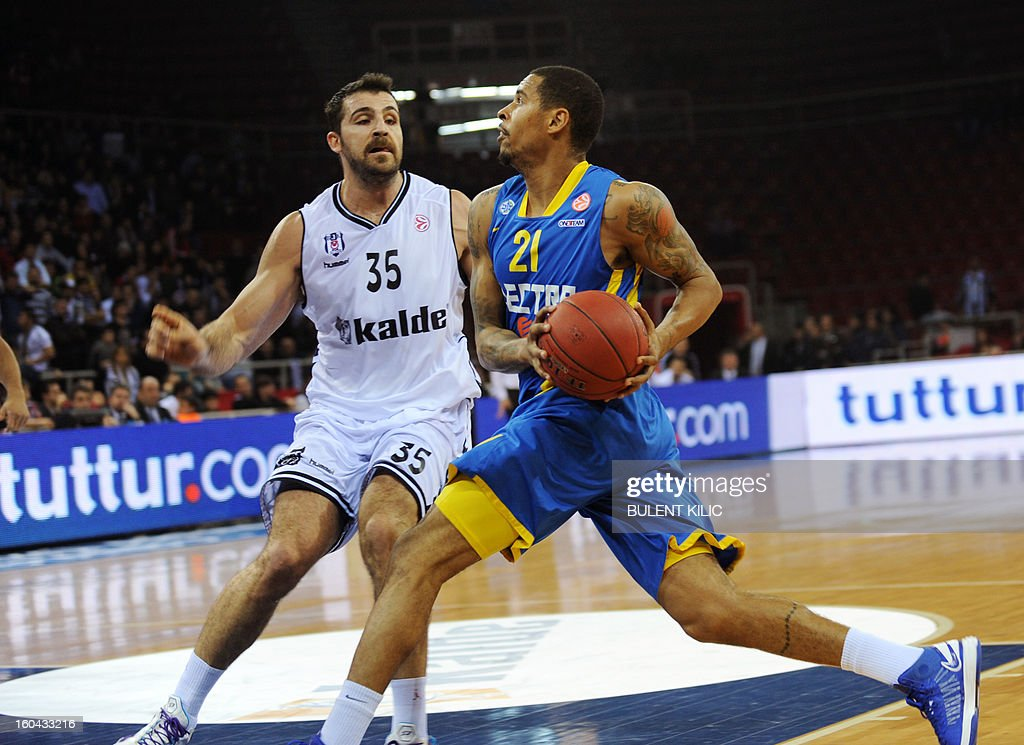 Maccabi Electra Tel Aviv`s Sylven Landesberg (R) vies for the ball with Besiktas`s Cemal Nalga (L) during the Euroleague basketball match between Maccabi Electra Tel Aviv and Besiktas at the Abdi Ipekci Sports Hall in Istanbul on January 31, 2013.