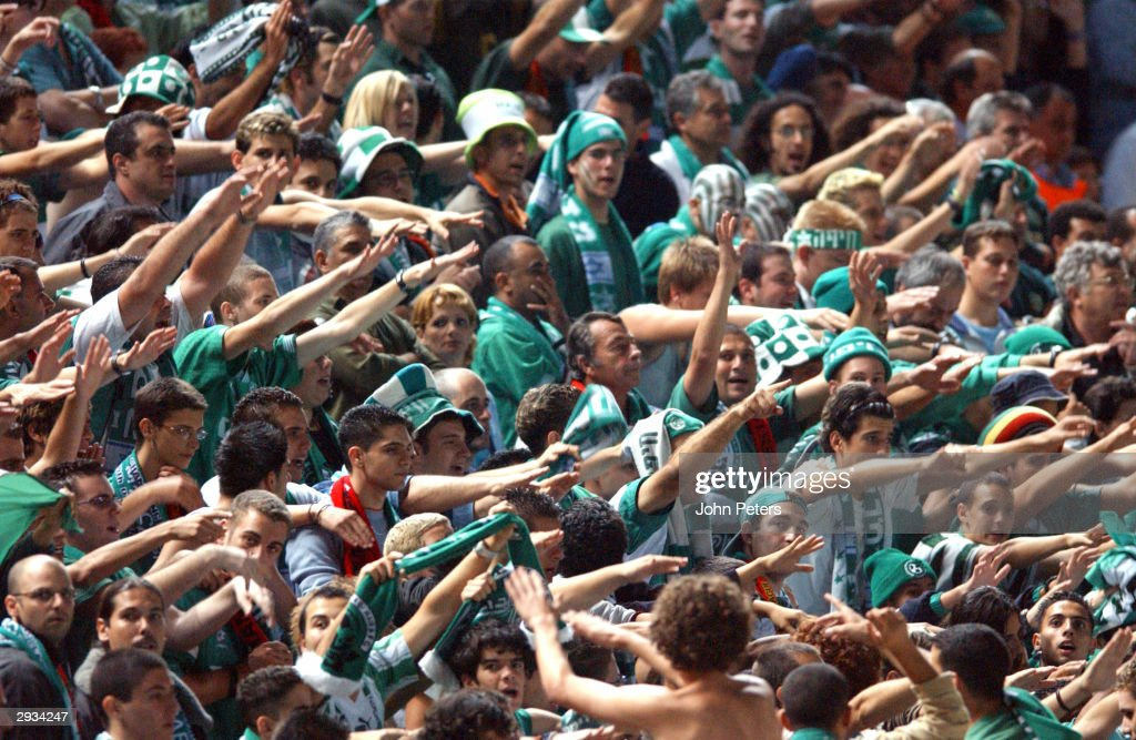 Maccabi Haifa Fans celebrate after the 30 victory in the UEFA Champions League match between Maccabi Haifa v Manchester United at the GSP Stadium on...