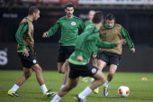Maccabi Haifa's players Alon Turgeman Shlomy Azulay and Shimon Abuhazira take part in a training session in Alkmaar on November 27 2013 on the eve of...