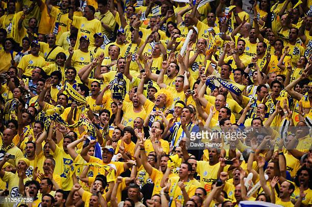 Maccabi Tel Aviv fans cheer during the Turkish Airlines EuroLeague Final Four final match between Panathinaikos and Maccabi Tel Aviv at the Palau...