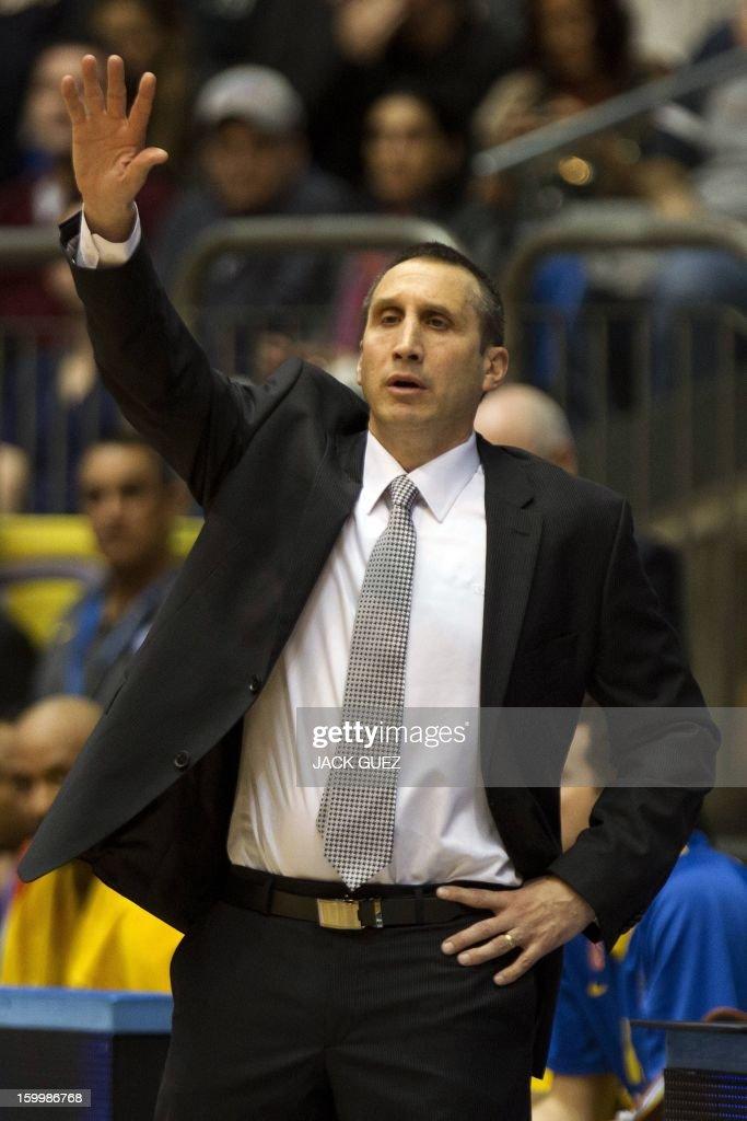 Maccabi Tel Aviv's Head Coach David Blatt gestures during the Euroleague Top 16 basketball match Maccabi Tel Aviv Electra vs Olympiacos Piraeus, on January 24, 2013 at the Nokia stadium in Tel Aviv.