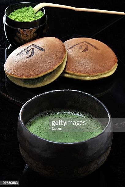 Maccha and Dorayaki cake are seen in the Japanese tea factory 'Tsujirihei Honten' on February 18 2010 in Uji Kyoto Japan Tsujirihei long established...