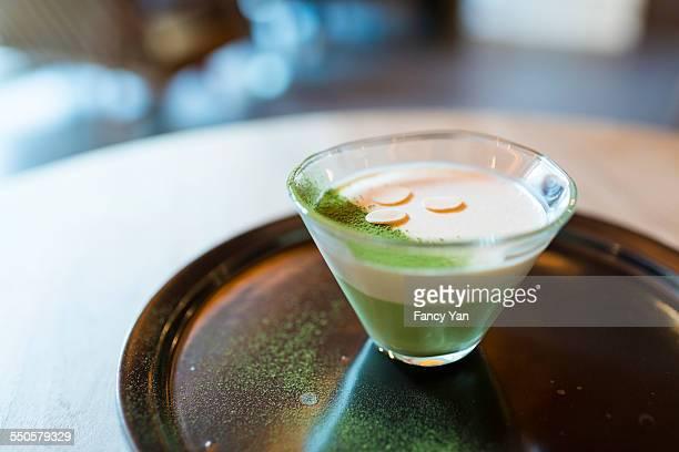 Maccha custard in cafe