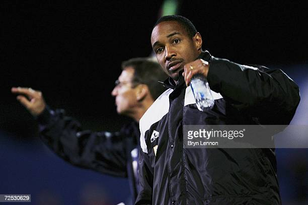 Macclesfield Manager Paul Ince directs his team during the FA Cup First Round match between Macclesfield Town and Walsall at Moss Rose on November 13...