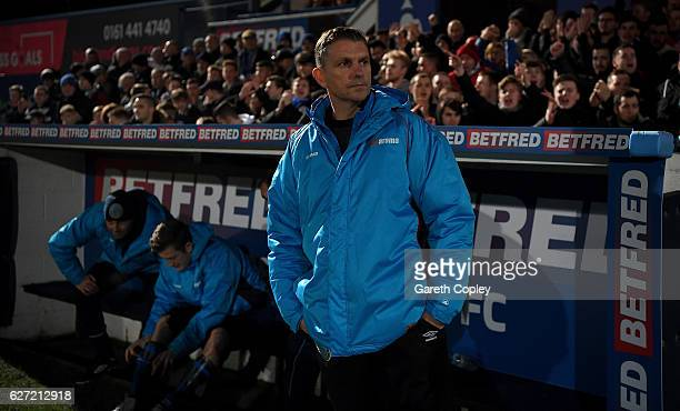 Macclesfield Town manager John Askey ahead of The Emirates FA Cup Second Round match between Macclesfield Town and Oxford United at Moss Rose Ground...