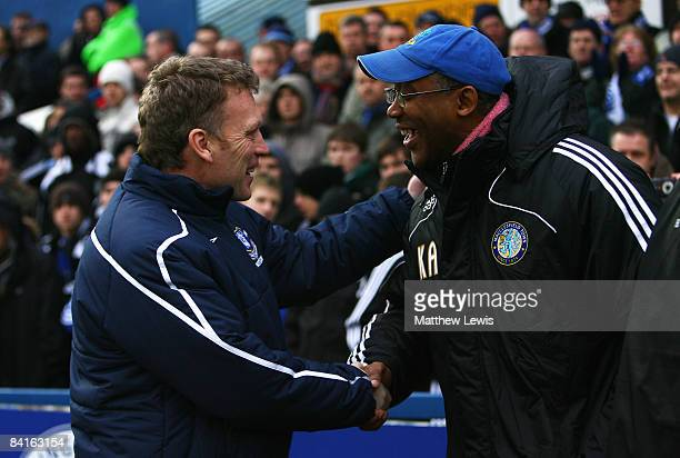 Macclesfield Town Manager Keith Alexander shakes hands with Everton Manager David Moyes ahead of the FA Cup sponsored by Eon 3rd Round match between...