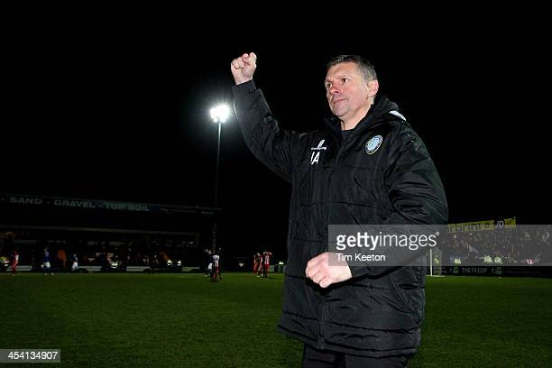 Macclesfield Town's Manager John Askey celebrates at the final whistle during the The FA Cup with Budweiser Second Round match between Macclesfield...