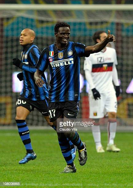 MacDonald Mariga of FC Internazionale Milano celebrates scoring the third goal during the Tim Cup match between Inter and Genoa at Stadio Giuseppe...