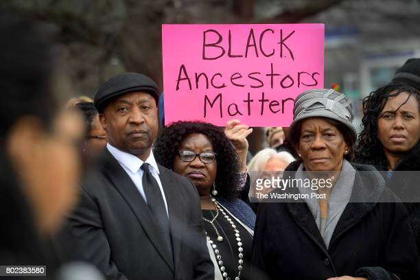 Macedonia Baptist Church members community members and others gather for a rally march and protest at the historic African American church on River...