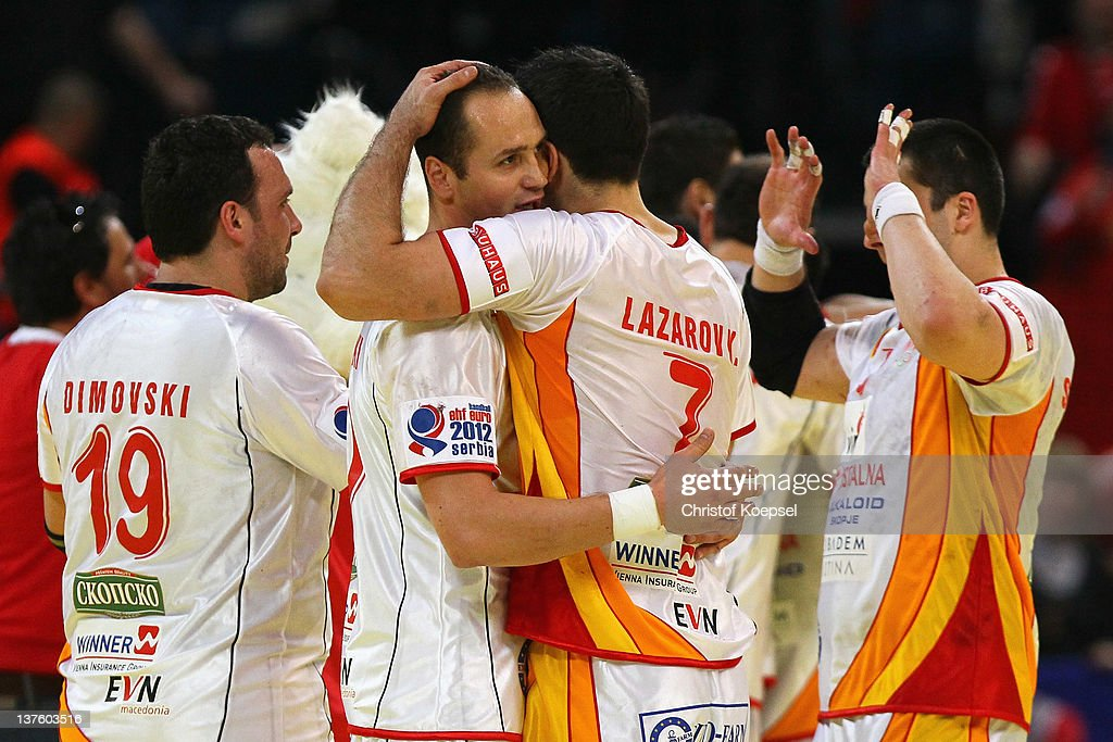 Macedonia celebrates the 27-25 victory after the Men's European Handball Championship second round group one match between Poland and Macedonia at Beogradska Arena on January 23, 2012 in Belgrade, Serbia.
