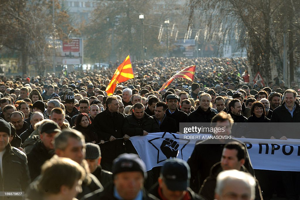 Macedonian opposition supporters march on January 12, 2013 during a protest called the 'Truth March' in Skopje. Macedonia on January 11 called local elections for March 24 in a tense political climate that has reigned since opposition boycotted parliament last month. Macedonia has been in a deep political crisis since December 24, when 17 people, including 11 policemen and two deputies, were slightly injured in scuffles over the 2013 budget.