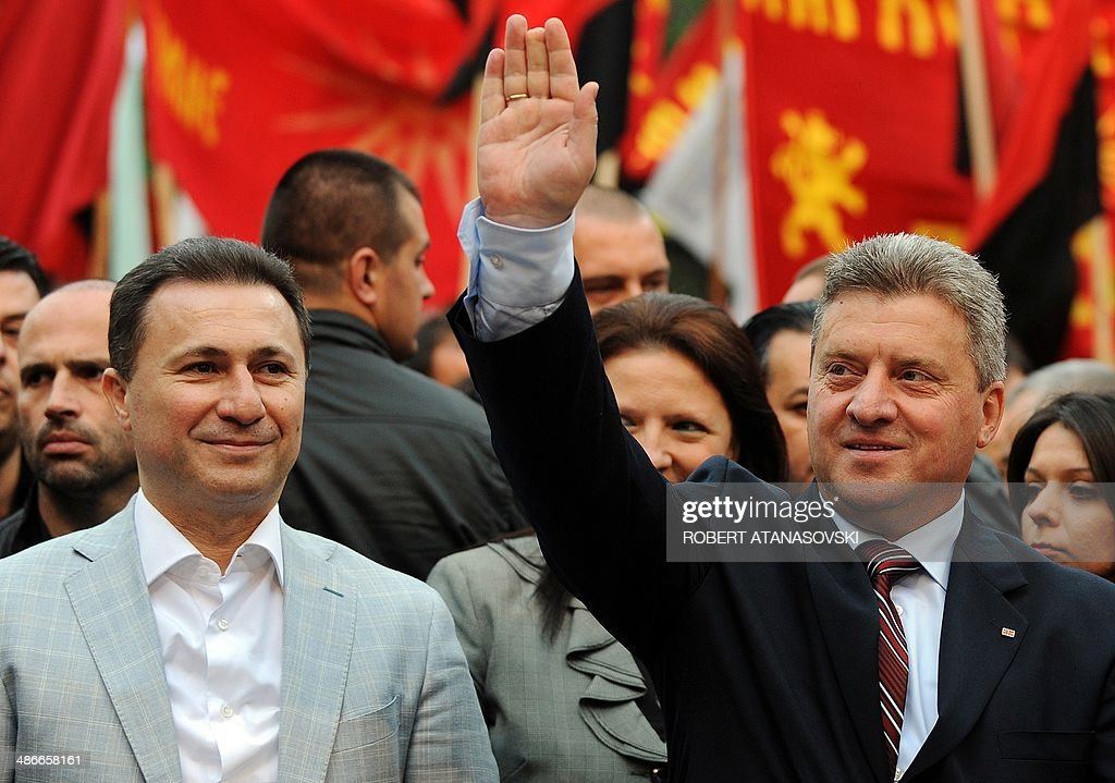 Macedonian President and presidential candidate of the ruling party VMRO DPMNE <a gi-track='captionPersonalityLinkClicked' href=/galleries/search?phrase=Gjorge+Ivanov+-+Politician&family=editorial&specificpeople=12777955 ng-click='$event.stopPropagation()'>Gjorge Ivanov</a> (R), accompanied by Macedonian Prime Minister Nikola Gruevski (L), greet supporters during their last campaign rally in ahead of upcoming elections, in Veles, Macedonia, on April 25, 2014. The citizens of the Republic of Macedonia will cast their ballots on April 27 for the second round of the presidential elections and the premature parliamentary elections.