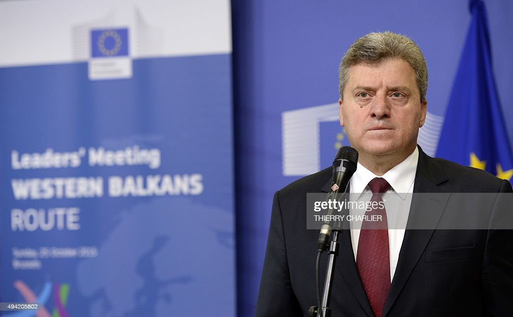 Macedonian President <a gi-track='captionPersonalityLinkClicked' href=/galleries/search?phrase=Gjorge+Ivanov+-+President&family=editorial&specificpeople=12777955 ng-click='$event.stopPropagation()'>Gjorge Ivanov</a> holds a press conference ahead of an EU-Balkans mini summit at the EU headquarters in Brussels on October 25, 2015. European Union and Balkan leaders faced a make-or-break summit on the deepening refugee crisis after three frontline states threatened to close their borders if their EU peers stopped accepting migrants.