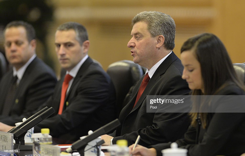 Macedonian President <a gi-track='captionPersonalityLinkClicked' href=/galleries/search?phrase=Gjorge+Ivanov+-+Politician&family=editorial&specificpeople=12777955 ng-click='$event.stopPropagation()'>Gjorge Ivanov</a> (2nd R) talks to Chinese President Xi Jinping during a meeting at the Great Hall of the People on October 21, 2013 in Beijing, China.