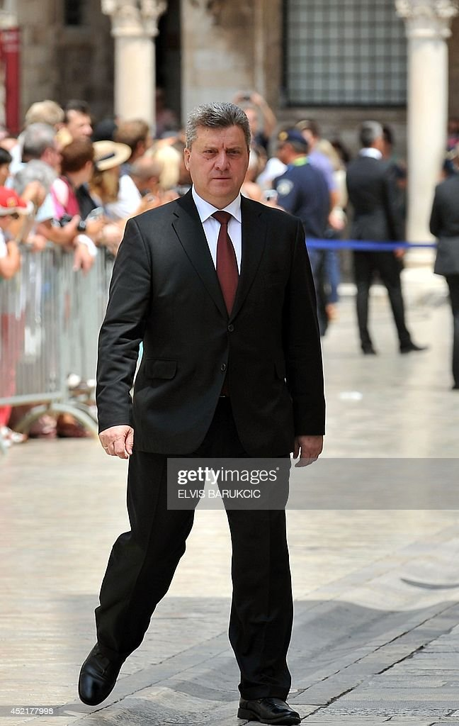 Macedonian President Gjorgje Ivanov arrives at a welcoming ceremony in Dubrovnik, on July 15, 2014. Heads of state of eight Balkan countries urged on the day before closer economic ties between them as a key means for reviving and making competitive their small economies. Today, Albania, Bosnia-Hercegovina, Croatia, Kosovo, Montenegro, Macedonia, Serbia and Slovenia were to meet together with German Chancellor Angela Merkel to review the region's further approach to the EU.