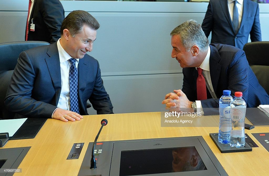 Macedonian prime minister <a gi-track='captionPersonalityLinkClicked' href=/galleries/search?phrase=Nikola+Gruevski&family=editorial&specificpeople=567539 ng-click='$event.stopPropagation()'>Nikola Gruevski</a> (L) and prime minister of Montenegro Milo Dukanovic (R) are seen during the prime ministers of west Balkan states meeting in Brussels, Belgium on April 21, 2015.