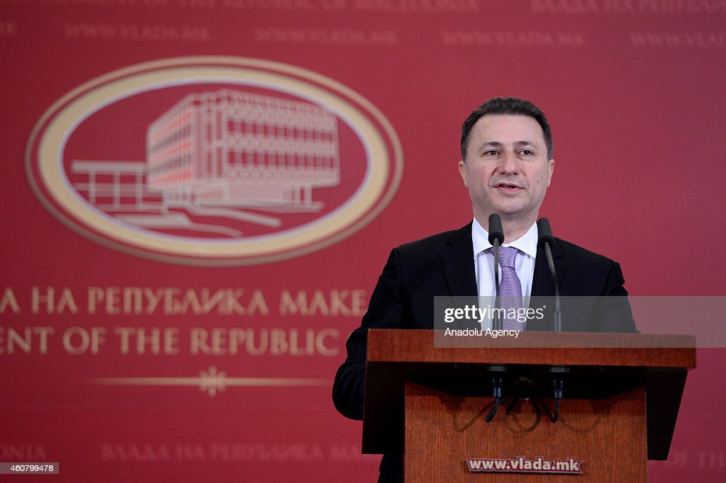Macedonian Prime Minister <a gi-track='captionPersonalityLinkClicked' href=/galleries/search?phrase=Nikola+Gruevski&family=editorial&specificpeople=567539 ng-click='$event.stopPropagation()'>Nikola Gruevski</a> holds a joint press conference after meeting Turkish Prime Minister Ahmet Davutoglu in the capital Skopje, Macedonia on December 23,2014.
