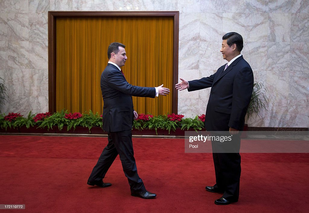 Macedonian Prime Minister Nikola Gruevski is greeted by Chinese President Xi Jinping upon arrival for a meeting at the Great Hall of the People on July 2, 2013 in Beijing, China. Victor-Viorel Ponta and Nikola Gruevski are in China to attend a conference with local leaders and central and east European countires from July 2 to 4.
