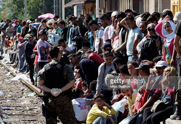 Macedonian special police forces control the departure of migrants to board a train to reach the Serbian Macedonian border on August 23 2015 in...