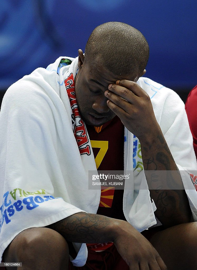 Macedonia's Bo McCalebb reacts during the 2013 EuroBasket Championship group B match between F.Y.R. Macedonia and Latvia in Jesenice on September 9, 2013.