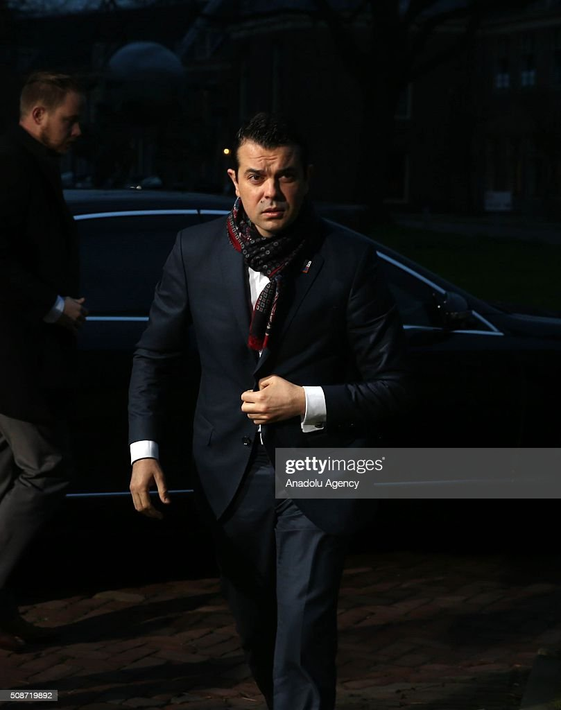 Macedonia's Foreign Minister Nikola Poposki arrives to take part arrives to take part in Informal Gymnich meeting of EU foreign ministers in Amsterdam, Netherlands on February 6, 2016.