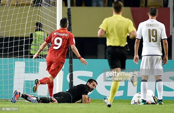 Macedonia's forward Ilija Nestorovski celebrates after scoring a goal during the FIFA World Cup 2018 qualifying football match Macedonia versus Italy...