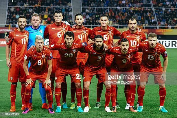 Macedonia's national football team players Ezgjan Alioski Stefan Spirovski Leonard Zuta Ilja Nestorovski Stefan Ristovski Ferhan Hasani Martin...