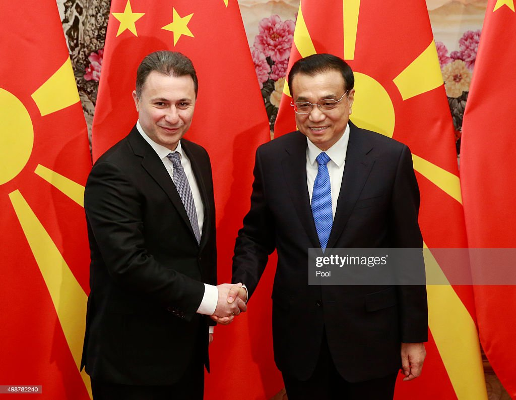 Macedonia's Prime Minister Nikola Gruevski shakes hands with China's Premier Li Keqiang during their meeting, on the sideline of the 4th Meeting of Heads of Government of China and Central and Eastern European Countries, at the Great Hall of the People on November 26, 2015. in in Beijing, China.