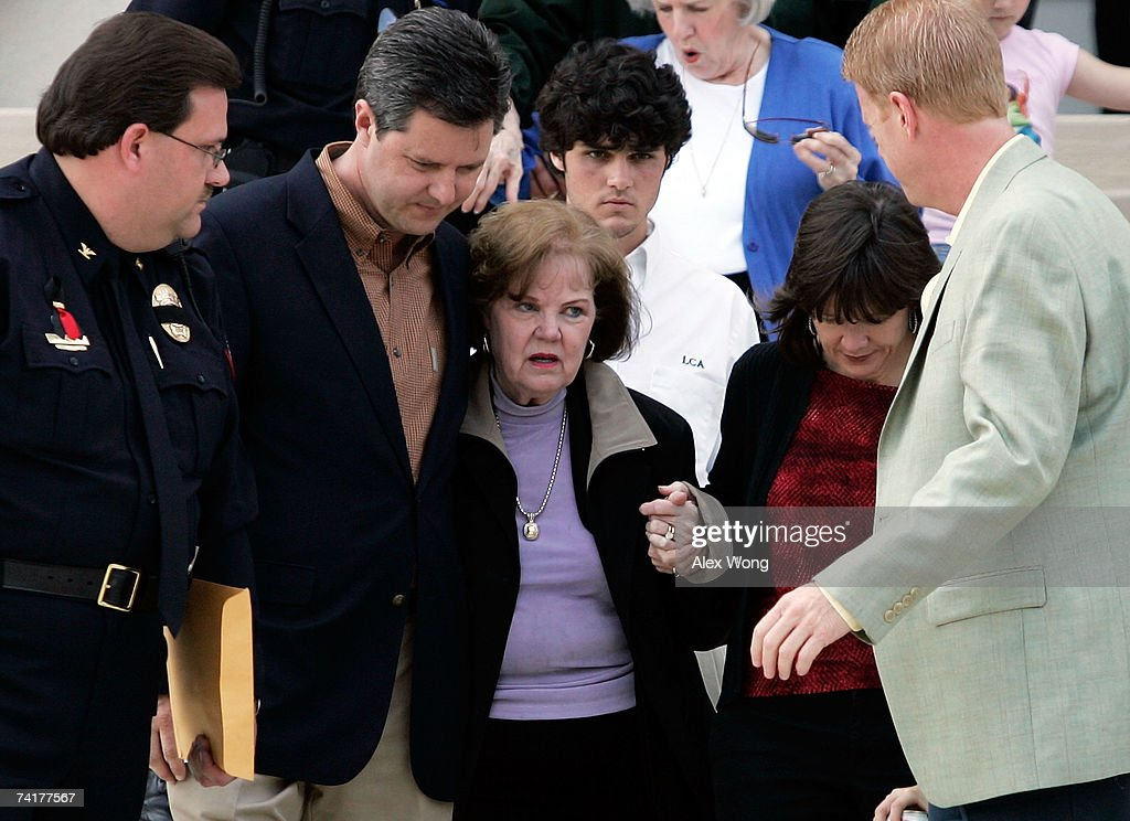 Macel Falwell (3rd L), leaves with her sons Jerry Jr. (2nd L) and Jonathan (R), and daughter Jeannie Falwell Savas (2nd R) after a viewing of her late husband, the Rev. Jerry Falwell, lying in repose at Arthur S. DeMoss Learning Center of Liberty University May 17, 2007 in Lynchburg, Virginia. Falwell, founder of Thomas Road Baptist Church and Liberty University, has died at the age of 73. The funeral service for Falwell is scheduled on May 22 at Thomas Road Baptist Church.