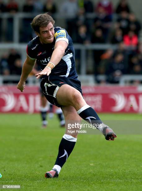 MacGinty of Sale Sharks kicks a conversion during the Aviva Premiership match between Sale Sharks and Bath Rugby at AJ Bell Stadium on May 6 2017 in...