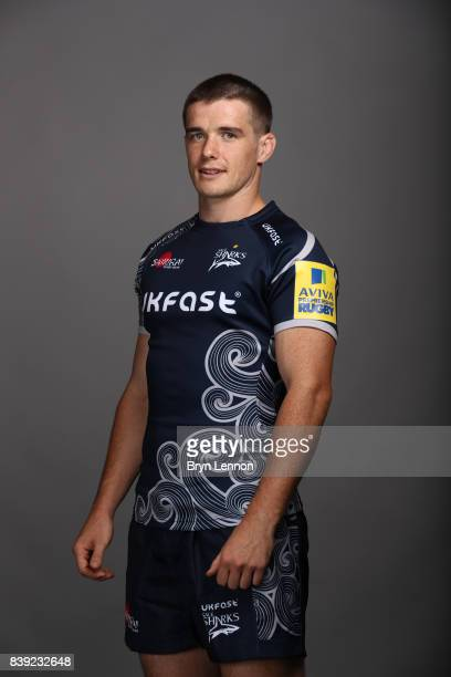 MacGinty of Sale Sharks poses during a photocall on August 23 2017 in Sale England