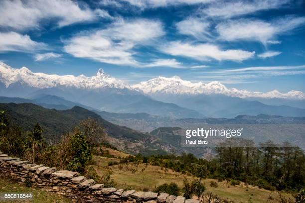 Machhapuchhre landscape under blue sky, Nepal