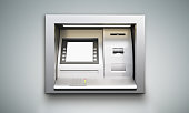 Built-in ATM machine with blank display on grey background. Mock up, 3D Rendering