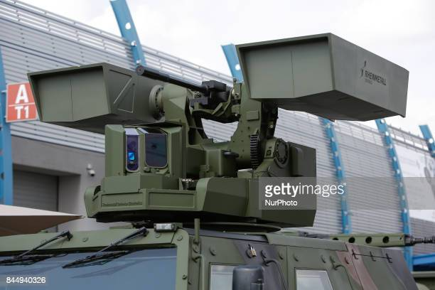 A machine gun and two anti tank missile units are seen on a Rheinmetall AMPV at the 25th International Defence Industry Exhibition on 8 September 2017