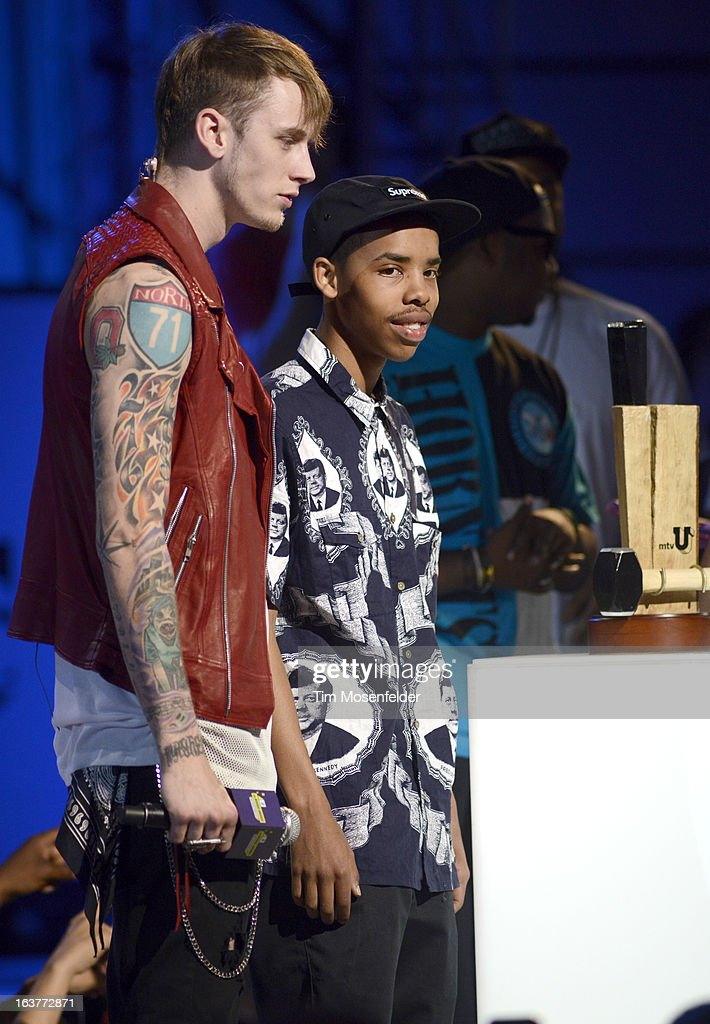 Machine Gun Kelly (L) and Earl Sweatshirt perform at the mtvU Woodie Awards on March 14, 2013 in Austin, Texas.