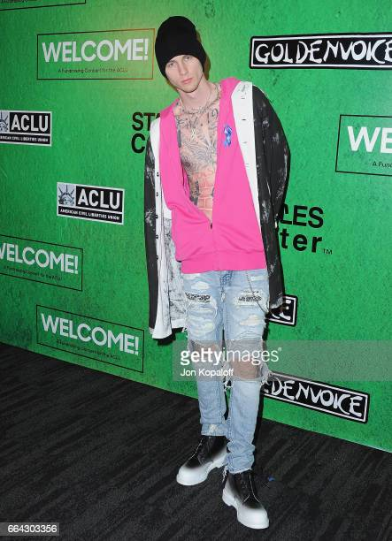 Machine Gun Kelly arrives at Zedd Presents WELCOME Fundraising Concert Benefiting The ACLU at Staples Center on April 3 2017 in Los Angeles California