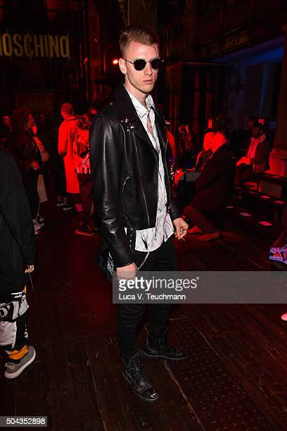 Machine Gun Kelly attends the Moschino show during The London Collections Men AW16 at on January 10 2016 in London England