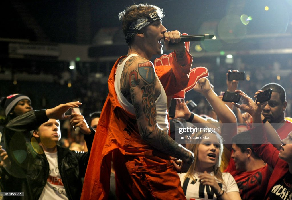 Machine Gun Kelly performs as part of The Maybach Music Group Tour at Sleep Train Arena on December 1, 2012 in Sacramento, California.