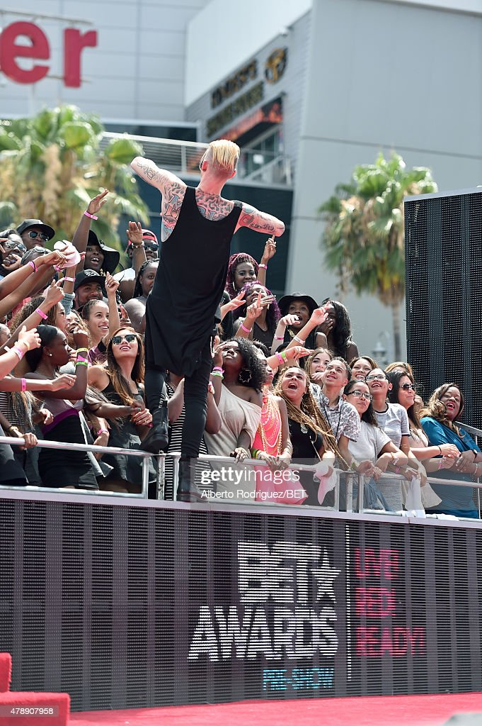 Machine Gun Kelly performs at the BET Awards preshow during the 2015 BET Awards at the Microsoft Theater on June 28 2015 in Los Angeles California