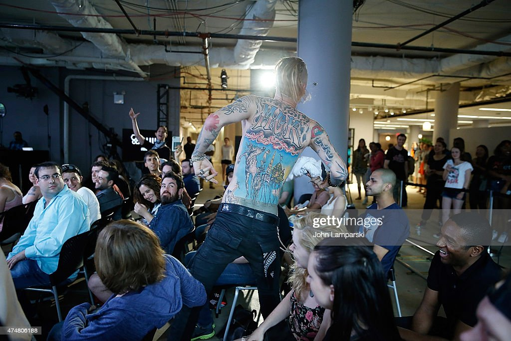 Machine Gun Kelly speaks during the AOL BUILD Speaker Series at AOL Studios on May 26 2015 in New York City