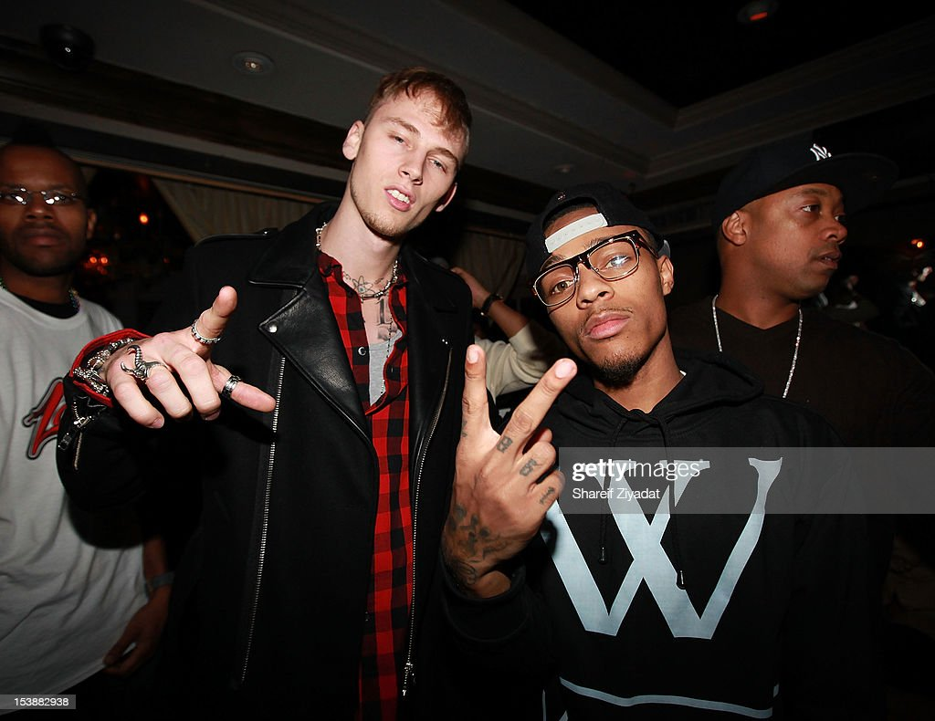 Machine Gun Kenny and <a gi-track='captionPersonalityLinkClicked' href=/galleries/search?phrase=Bow+Wow+-+Rapper&family=editorial&specificpeople=211211 ng-click='$event.stopPropagation()'>Bow Wow</a> attend the Machine Gun Kelly Album Release Party at RdV Lounge on October 8, 2012 in New York City.