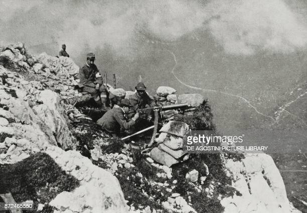 Machine guns in a high mountain position World War I from L'Illustrazione Italiana Year XLII No 43 October 24 1915