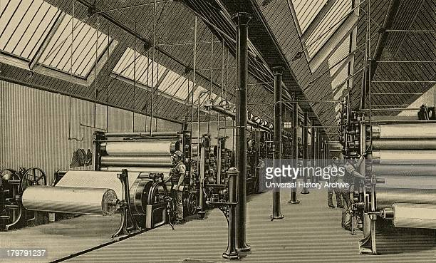 Machine House Horton Kirby Paper Mills Kent Finished paper being wound onto rolls Engraving 1887