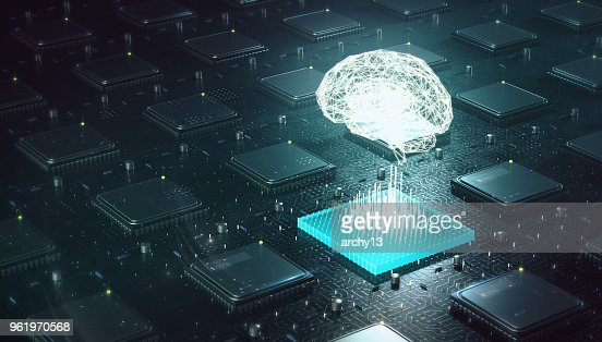 Machine learning, intelligence artificielle, IA, deep blockchain concept de réseau de neurones d'apprentissage. Cerveau fait avec brillant filaire au-dessus de blockchain plusieurs cpu sur circuit imprimé rendu 3d. : Photo