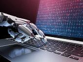 Robot writing a programming code on laptop. 3d illustration.