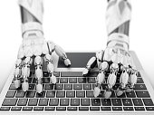 Robotic hands typing on laptop keyboard. 3d illustration.