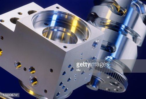 Machine parts on blue background