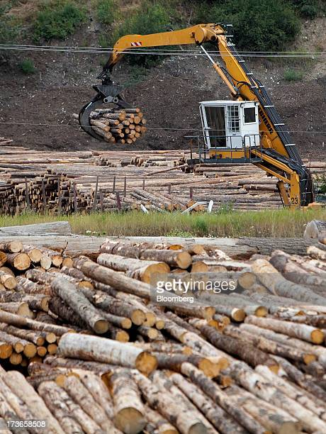 A machine places freshly cut trees into piles before transport to the West Fraser Timber Co sawmill in Quesnel British Columbia Canada on Thursday...