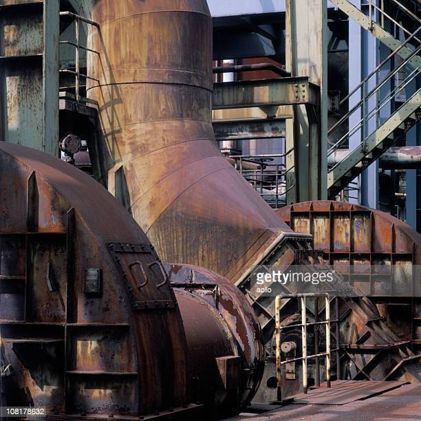 Machinery in a Rusted, Old Steel Mill
