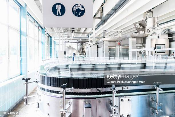 Machinery in bottling facility, bottling mineral spring water